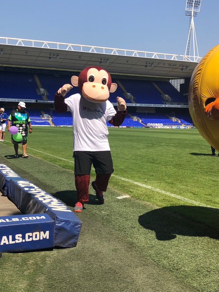 Aaron Garwood running as Marvin the Monkey during the Mascot Race at Ipswich Town Football Club's Open Day.