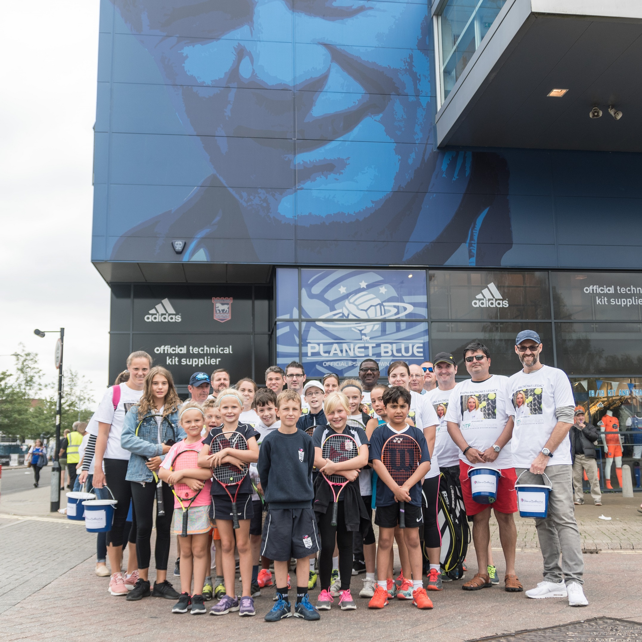 Volunteers from the Elena Baltacha Foundation outside Ipswich Town's ground during Saturday's collection.