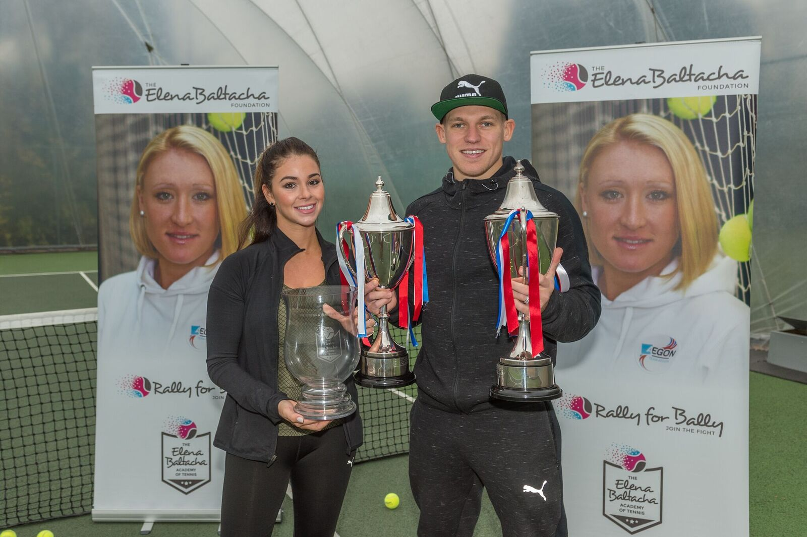 Martyn Waghorn and wife Leoni with the trophies they handed out to winners at the Elena Baltacha Foundation's 2017 annual awards ceremony.