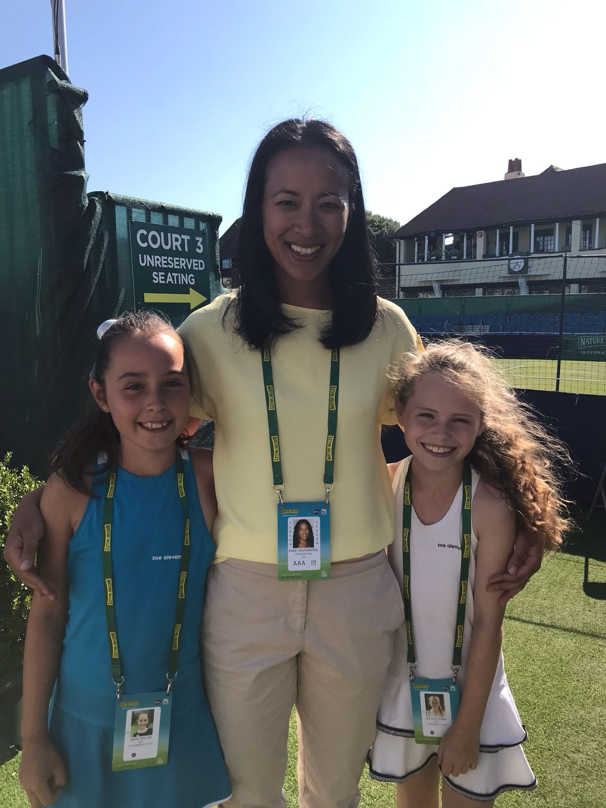 Elena Baltacha Foundation girls at the Nature Valley International in Eastbourne with Foundation Ambassador Anne Keothavong.