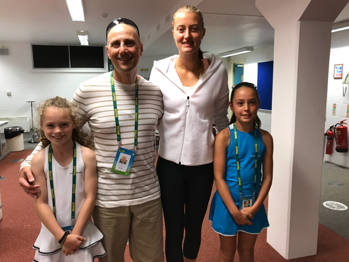 Elena Baltacha Foundation girls with Kristina Mladenovic at the Nature Valley International in Eastbourne.