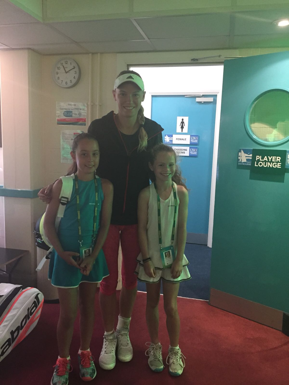 Elena Baltacha Foundation girls at the Nature Valley International in Eastbourne with Caroline Wozniacki.