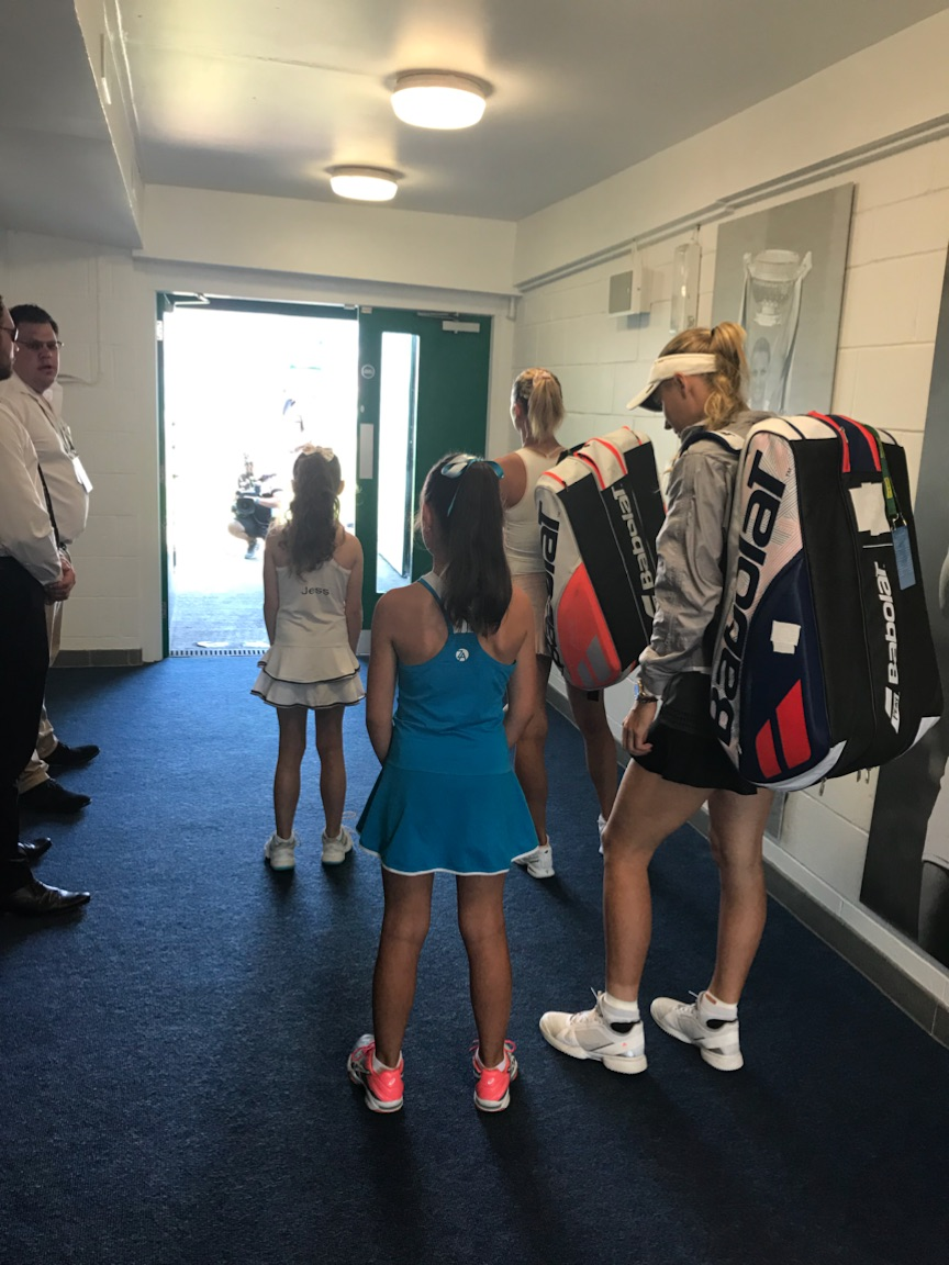 Elena Baltacha Foundation girls at the Nature Valley International in Eastbourne with Caroline Wozniacki and Camila Giorgi.