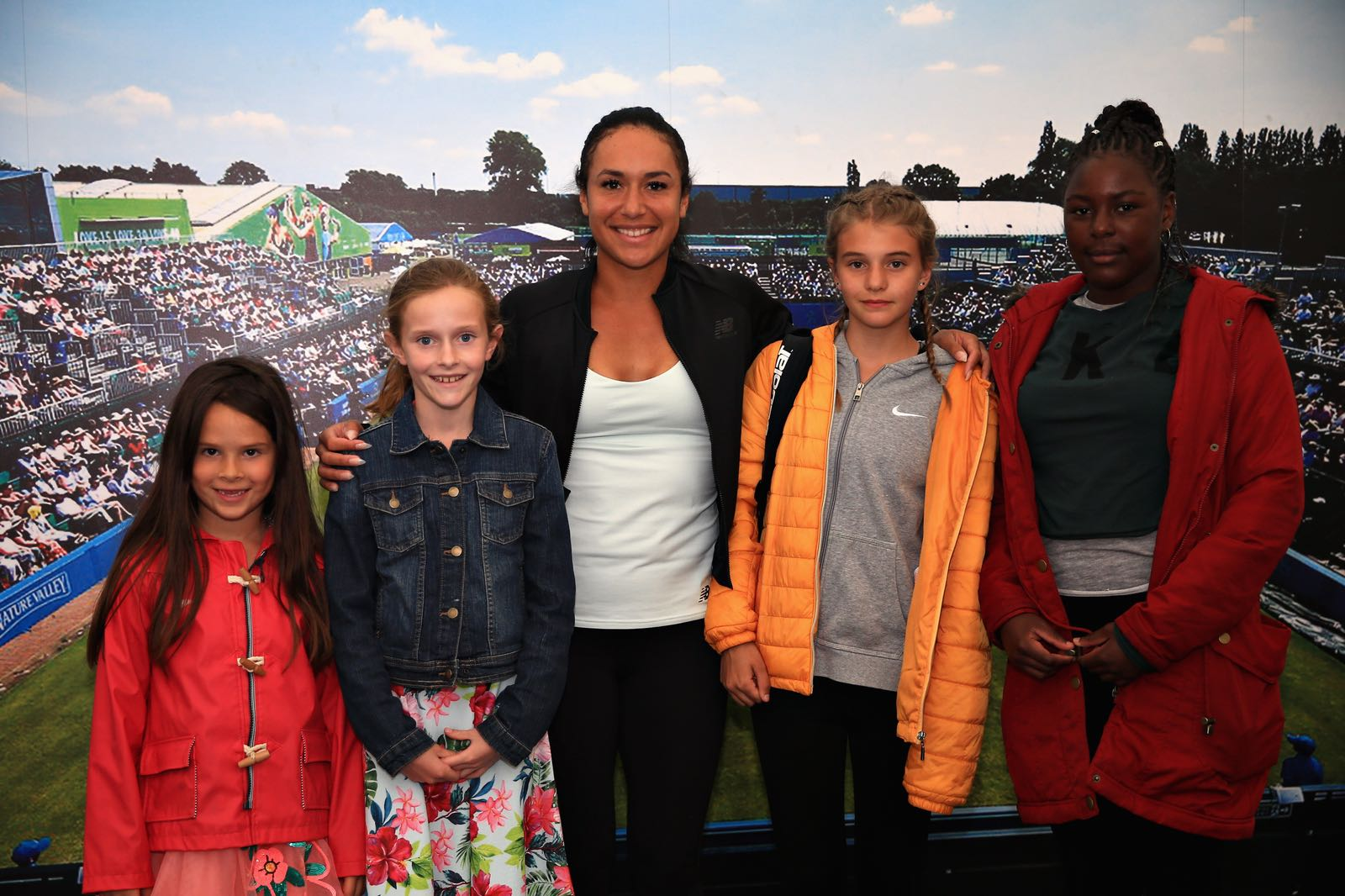 Elena Baltacha Foundation girls with Heather Watson at the Nature Valley Open in Nottingham