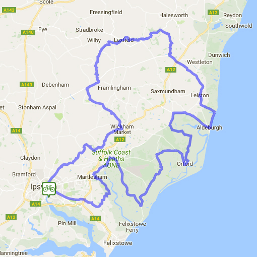 The Join The Ride Route Around Suffolk